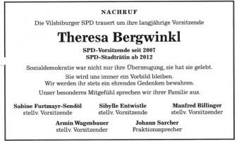 Nachruf Theresa Bergwinkl